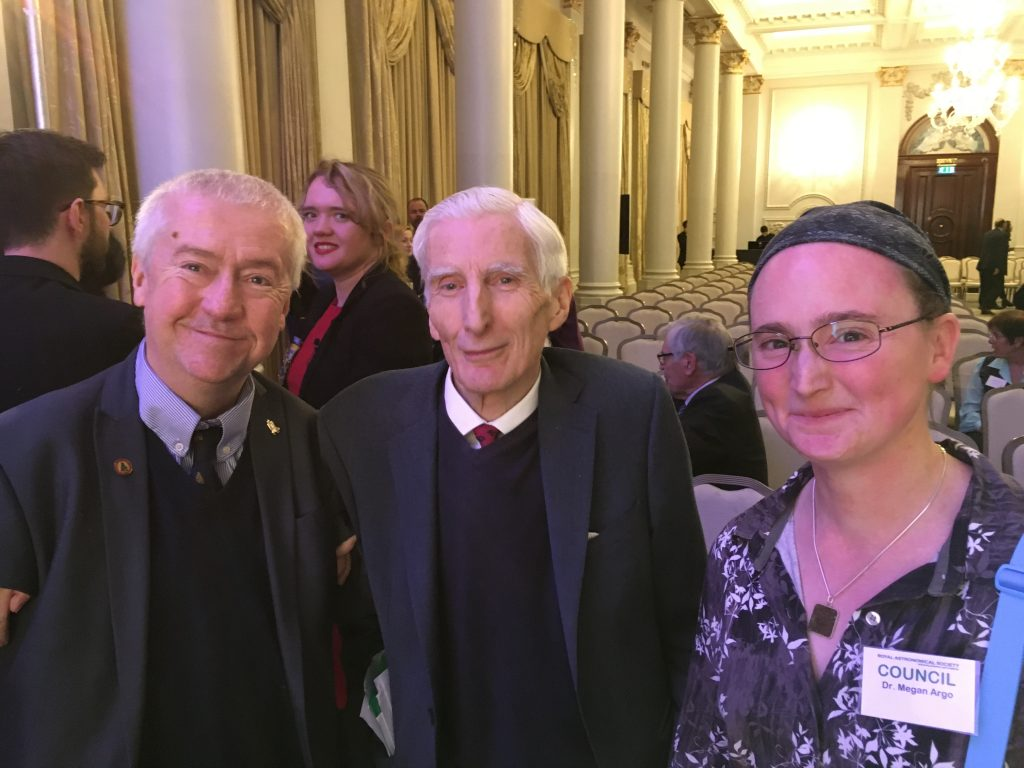 Two JHI staff members with the Astronomer Royal