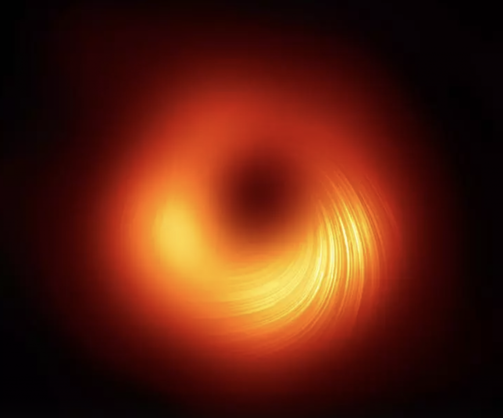 The polarised view of the black hole in M87. The lines mark the orientation of polarisation, which is related to the magnetic field around the shadow of the black hole (photo credit: EHT collaboration)